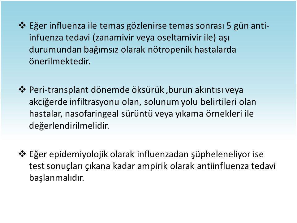  Eğer influenza ile temas gözlenirse temas sonrası 5 gün anti- infuenza tedavi (zanamivir veya oseltamivir ile) aşı durumundan bağımsız olarak nötrop