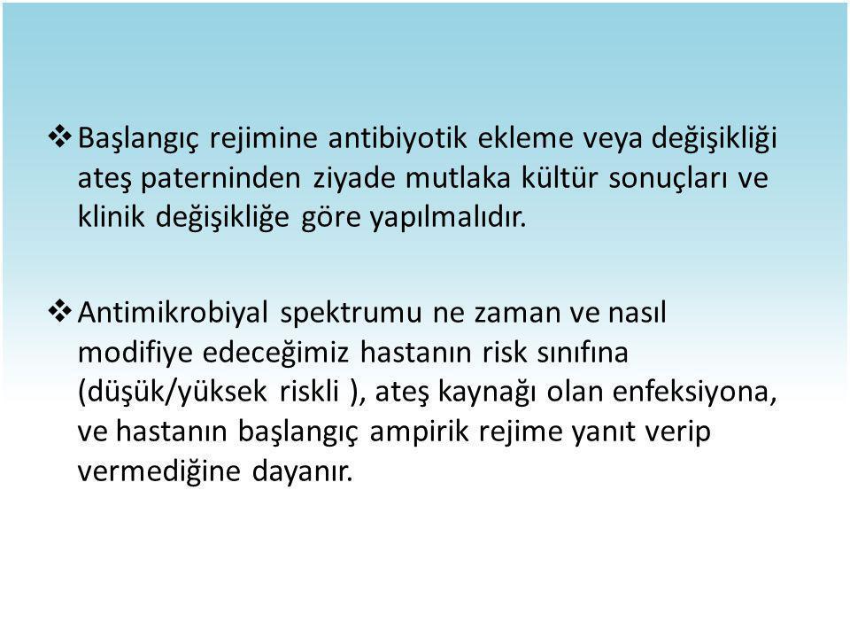  Başlangıç rejimine antibiyotik ekleme veya değişikliği ateş paterninden ziyade mutlaka kültür sonuçları ve klinik değişikliğe göre yapılmalıdır.  A