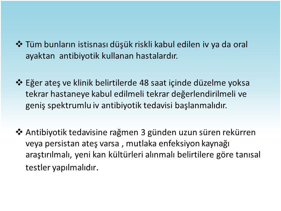  Tüm bunların istisnası düşük riskli kabul edilen iv ya da oral ayaktan antibiyotik kullanan hastalardır.  Eğer ateş ve klinik belirtilerde 48 saat