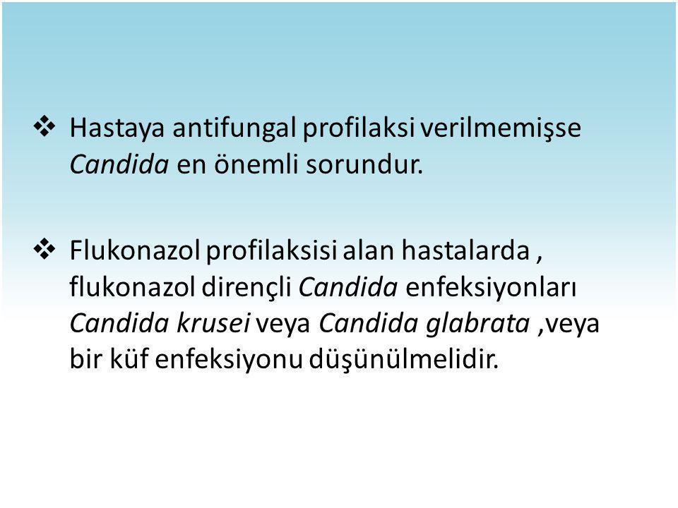  Hastaya antifungal profilaksi verilmemişse Candida en önemli sorundur.  Flukonazol profilaksisi alan hastalarda, flukonazol dirençli Candida enfeks