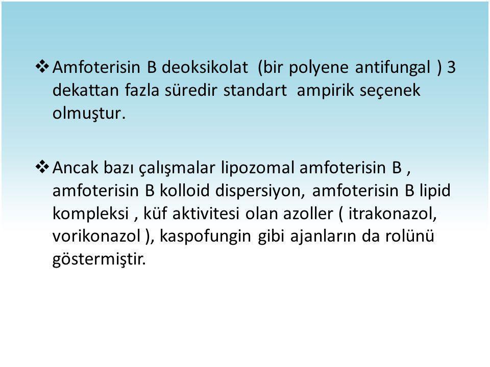  Amfoterisin B deoksikolat (bir po l yene antifungal ) 3 dekattan fazla süredir standart ampirik seçenek olmuştur.  Ancak bazı çalışmalar lipozomal
