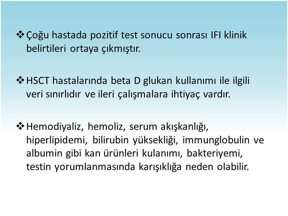  Çoğu hastada pozitif test sonucu sonrası IFI klinik belirtileri ortaya çıkmıştır.  HSCT hastalarında beta D glukan kullanımı ile ilgili veri sınırl