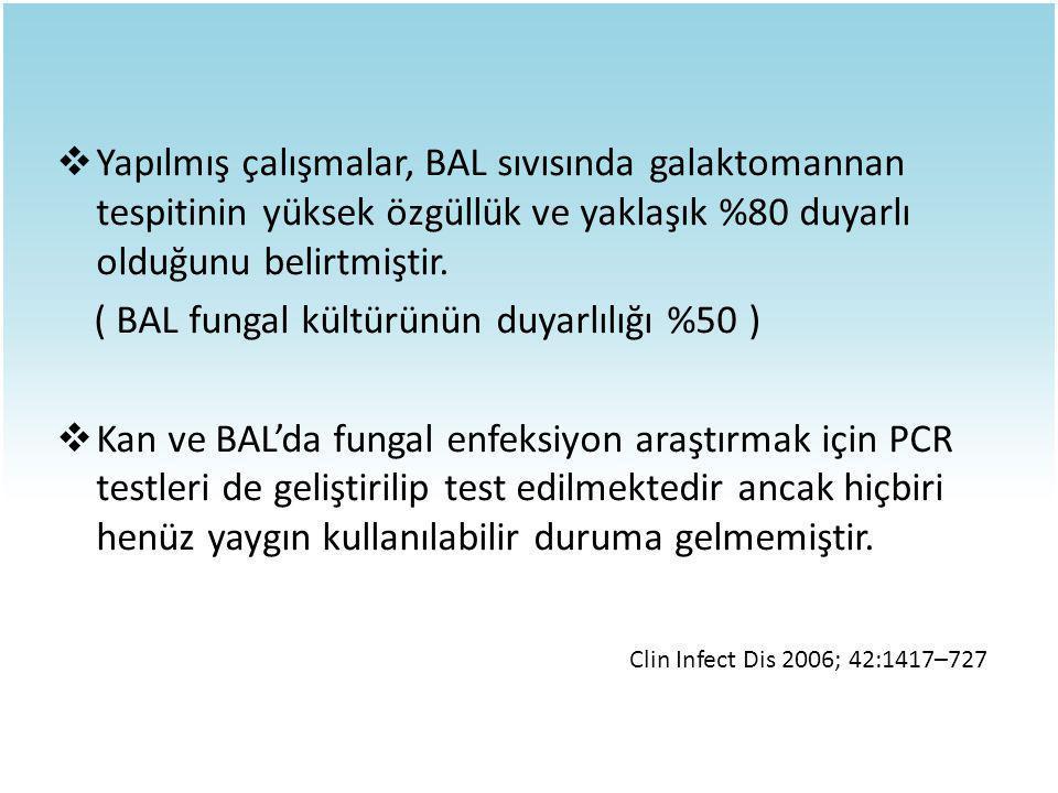  Yapılmış çalışmalar, BAL sıvısında galaktomannan tespitinin yüksek özgüllük ve yaklaşık %80 duyarlı olduğunu belirtmiştir. ( BAL fungal kültürünün d