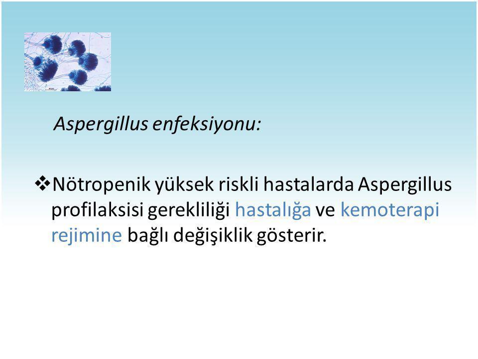 Aspergillus enfeksiyonu:  Nötropenik yüksek riskli hastalarda Aspergillus profilaksisi gerekliliği hastalığa ve kemoterapi rejimine bağlı değişiklik