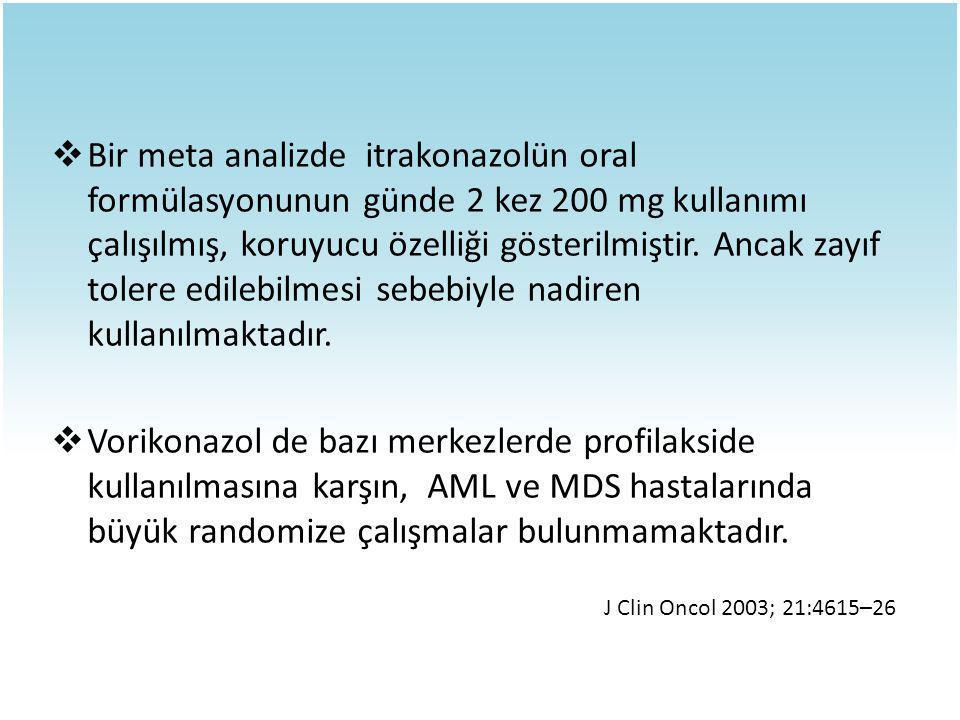  Bir meta analizde itrakonazolün oral formülasyonunun günde 2 kez 200 mg kullanımı çalışılmış, koruyucu özelliği gösterilmiştir. Ancak zayıf tolere e