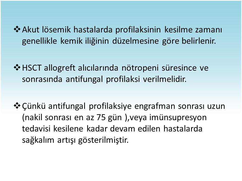  Akut lösemik hastalarda profilaksinin kesilme zamanı genellikle kemik iliğinin düzelmesine göre belirlenir.  HSCT allogreft alıcılarında nötropeni