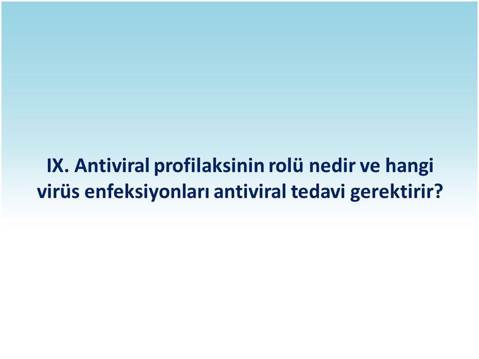 IX. Antiviral profilaksinin rolü nedir ve hangi virüs enfeksiyonları antiviral tedavi gerektirir?