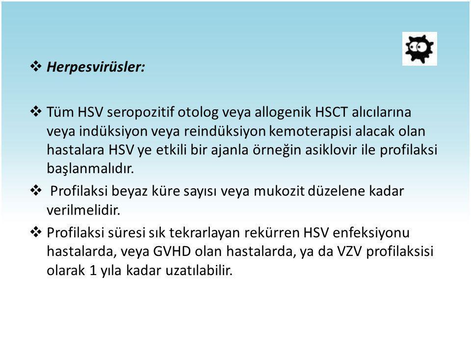  Herpesvirüsler:  Tüm HSV seropozitif otolog veya allogenik HSCT alıcılarına veya indüksiyon veya reindüksiyon kemoterapisi alacak olan hastalara HS