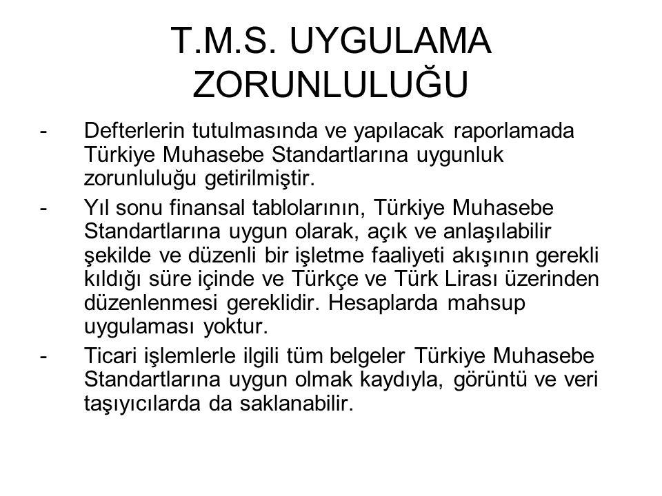 T.M.S. UYGULAMA ZORUNLULUĞU -Defterlerin tutulmasında ve yapılacak raporlamada Türkiye Muhasebe Standartlarına uygunluk zorunluluğu getirilmiştir. -Yı