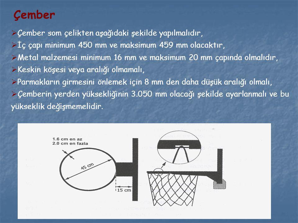 Çember  Çember som çelikten aşağıdaki şekilde yapılmalıdır,  İç çapı minimum 450 mm ve maksimum 459 mm olacaktır,  Metal malzemesi minimum 16 mm ve