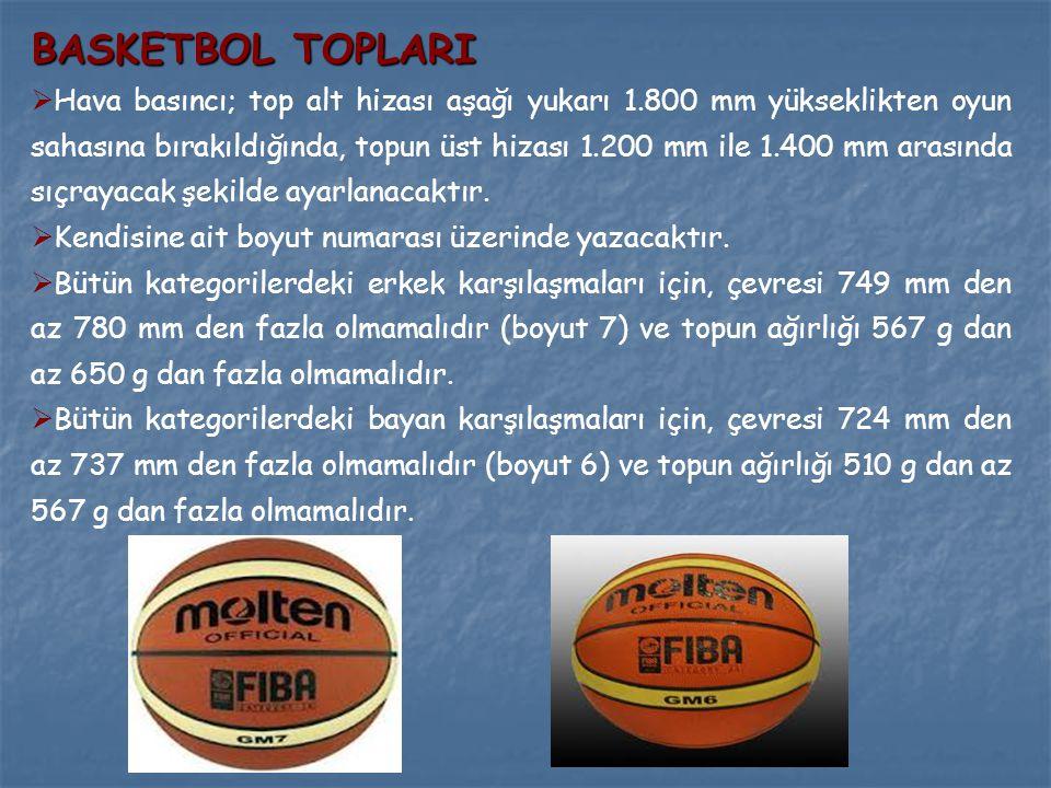 BASKETBOL TOPLARI  Hava basıncı; top alt hizası aşağı yukarı 1.800 mm yükseklikten oyun sahasına bırakıldığında, topun üst hizası 1.200 mm ile 1.400