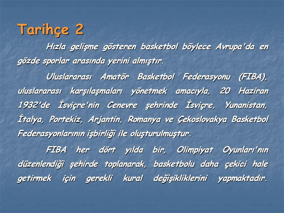 Tarihçe 2 Hızla gelişme gösteren basketbol böylece Avrupa'da en gözde sporlar arasında yerini almıştır. Uluslararası Amatör Basketbol Federasyonu (FIB