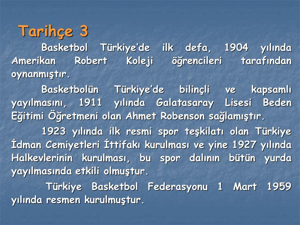 Tarihçe 3 Basketbol Türkiye'de ilk defa, 1904 yılında Amerikan Robert Koleji öğrencileri tarafından oynanmıştır. Basketbolün Türkiye'de bilinçli ve ka