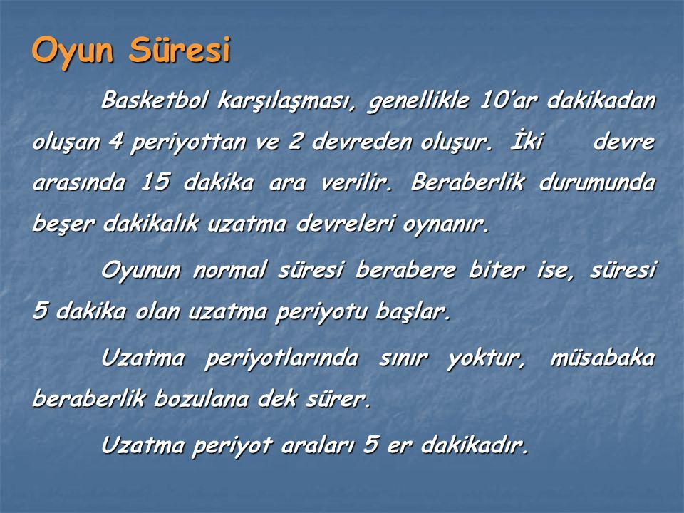 Oyun Süresi Basketbol karşılaşması, genellikle 10'ar dakikadan oluşan 4 periyottan ve 2 devreden oluşur. İki devre arasında 15 dakika ara verilir. Ber