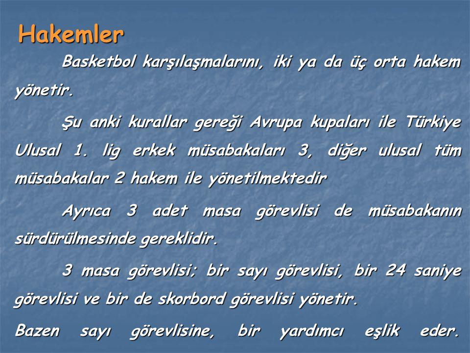 Hakemler Basketbol karşılaşmalarını, iki ya da üç orta hakem yönetir. Şu anki kurallar gereği Avrupa kupaları ile Türkiye Ulusal 1. lig erkek müsabaka