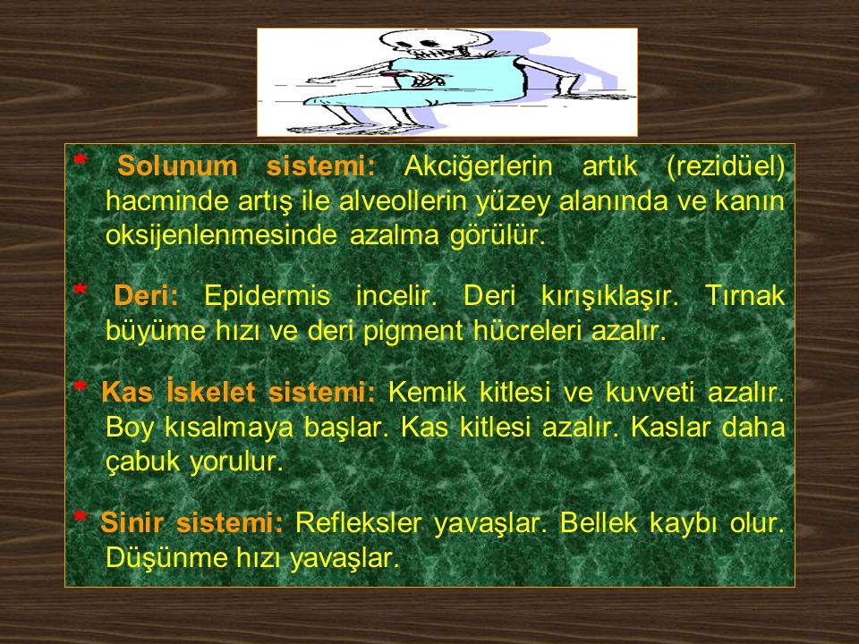Fizyolojik Değişiklikler * Boşaltım sistemi: Böbrek kitle ve fonksiyonu azalır. Böbrek kan akımı azalır. Mesane kapasitesi azalır. Dizüri, noktüri, sı