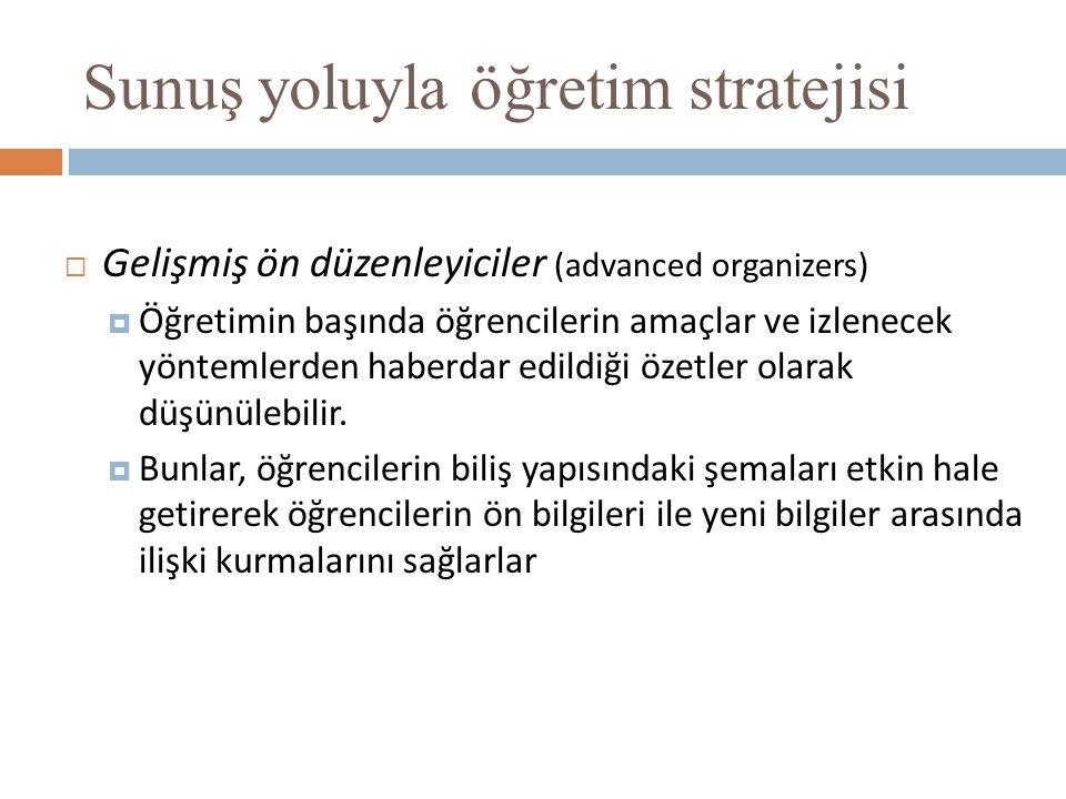 Sunuş yoluyla öğretim stratejisi  Gelişmiş ön düzenleyiciler (advanced organizers)  Öğretimin başında öğrencilerin amaçlar ve izlenecek yöntemlerden