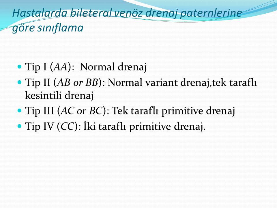 Hastalarda bileteral venöz drenaj paternlerine göre sınıflama  Tip I (AA): Normal drenaj  Tip II (AB or BB): Normal variant drenaj,tek taraflı kesintili drenaj  Tip III (AC or BC): Tek taraflı primitive drenaj  Tip IV (CC): İki taraflı primitive drenaj.