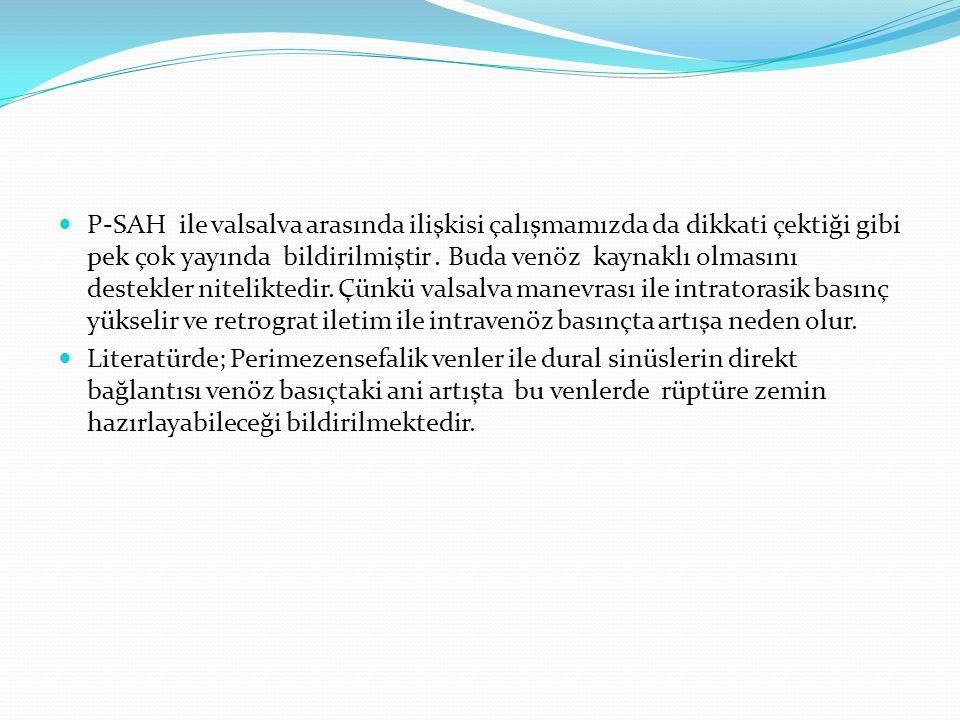  P-SAH ile valsalva arasında ilişkisi çalışmamızda da dikkati çektiği gibi pek çok yayında bildirilmiştir.
