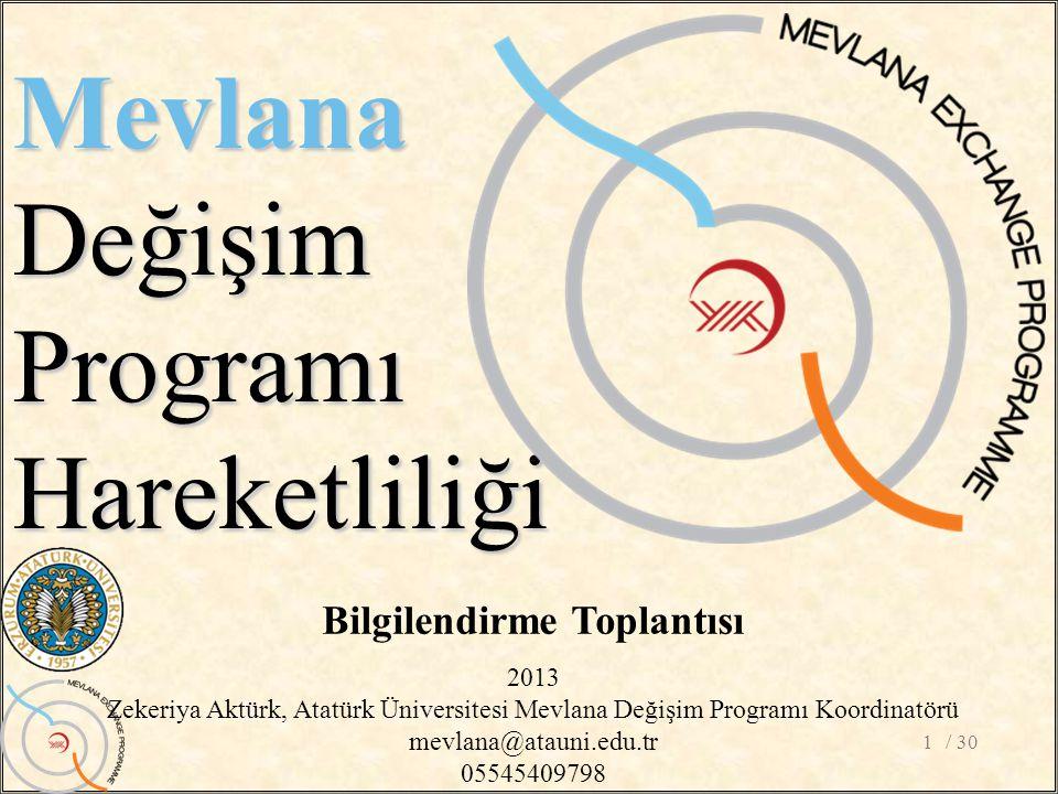 / 301 MevlanaDeğişimProgramıHareketliliği Bilgilendirme Toplantısı 2013 Zekeriya Aktürk, Atatürk Üniversitesi Mevlana Değişim Programı Koordinatörü mevlana@atauni.edu.tr 05545409798