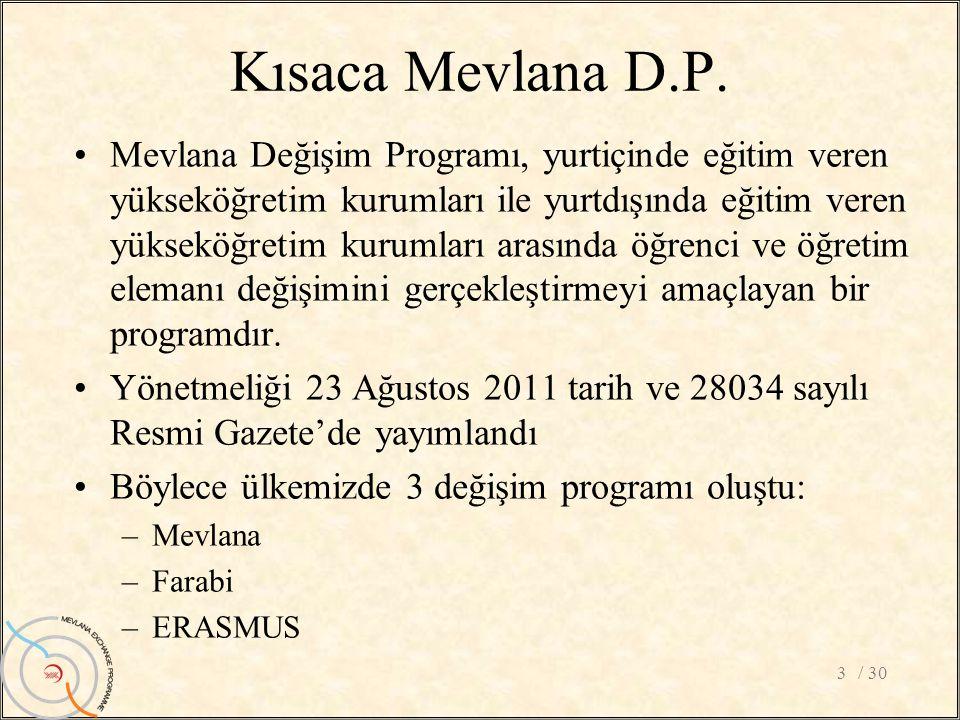 Kısaca Mevlana D.P. / 303 •Mevlana Değişim Programı, yurtiçinde eğitim veren yükseköğretim kurumları ile yurtdışında eğitim veren yükseköğretim kuruml