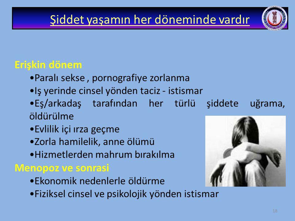 17 Şiddet yaşamın her döneminde vardır Doğum öncesi : • Gebelik süresince cinsiyet seçimi, erkek çocuk tercihi • Gebeliğin bebeğin kız olması nedeni i