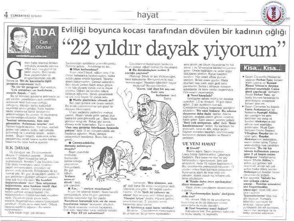 3 • Gazete ve televizyon haberlerine yansıyan kadına yönelik şiddet olaylarının ortak yanı… • Çoğunluğunda zanlıların eş, sevgili, baba, kardeş ve ağa