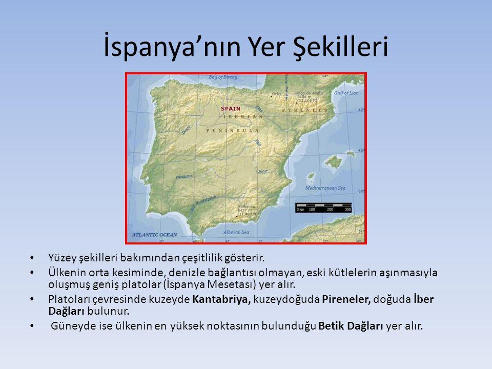 İspanya'nın Yer Şekilleri • Yüzey şekilleri bakımından çeşitlilik gösterir. • Ülkenin orta kesiminde, denizle bağlantısı olmayan, eski kütlelerin aşın