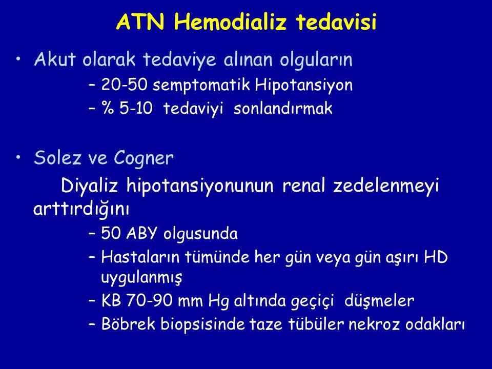 ATN Hemodializ tedavisi •Akut olarak tedaviye alınan olguların –20-50 semptomatik Hipotansiyon –% 5-10 tedaviyi sonlandırmak •Solez ve Cogner Diyaliz
