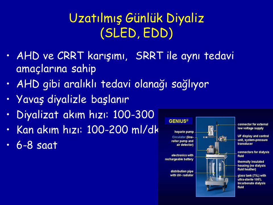 Uzatılmış Günlük Diyaliz (SLED, EDD) •AHD ve CRRT karışımı, SRRT ile aynı tedavi amaçlarına sahip •AHD gibi aralıklı tedavi olanağı sağlıyor •Yavaş di