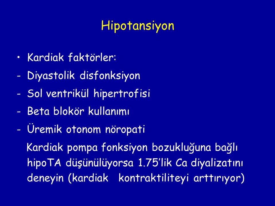 Hipotansiyon •Kardiak faktörler: -Diyastolik disfonksiyon -Sol ventrikül hipertrofisi -Beta blokör kullanımı -Üremik otonom nöropati Kardiak pompa fon