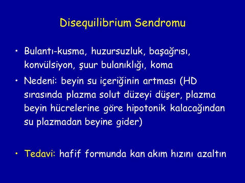 Disequilibrium Sendromu •Bulantı-kusma, huzursuzluk, başağrısı, konvülsiyon, şuur bulanıklığı, koma •Nedeni: beyin su içeriğinin artması (HD sırasında