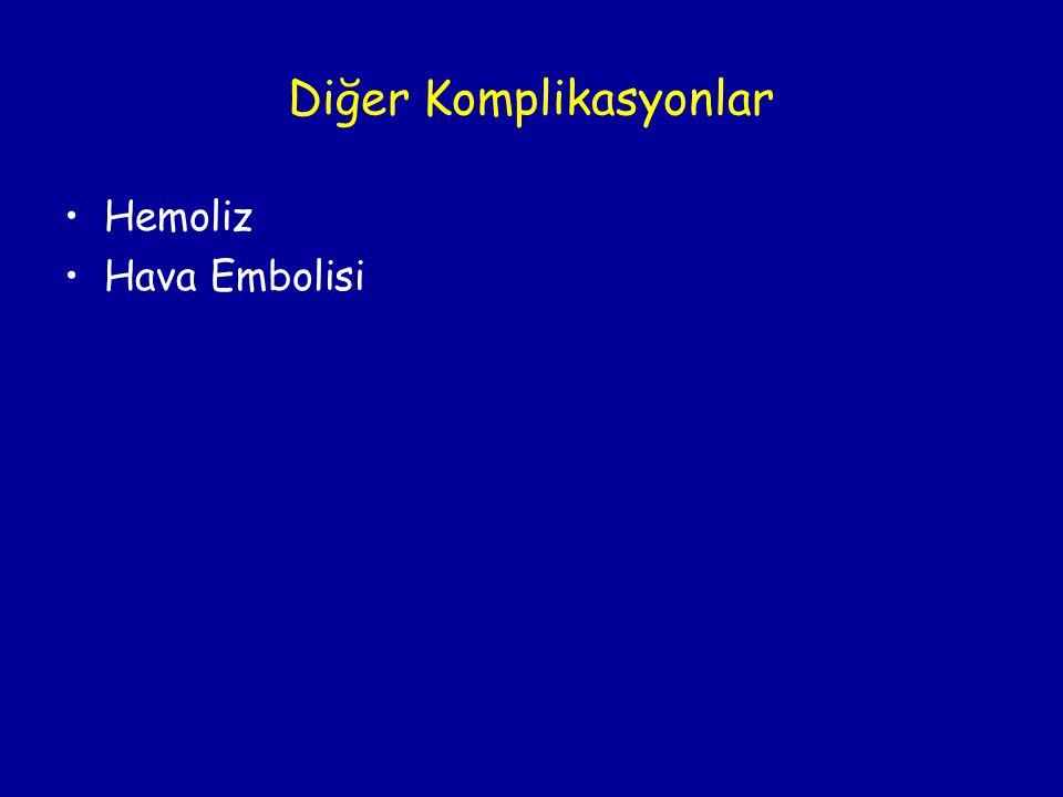 Diğer Komplikasyonlar •Hemoliz •Hava Embolisi