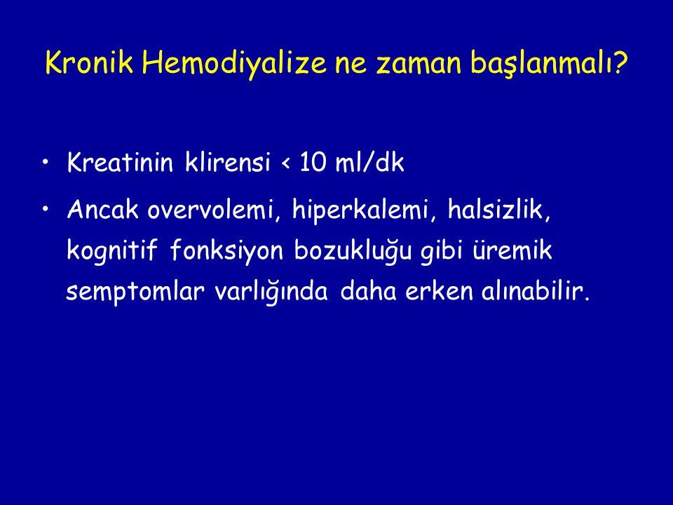 Kronik Hemodiyalize ne zaman başlanmalı? •Kreatinin klirensi < 10 ml/dk •Ancak overvolemi, hiperkalemi, halsizlik, kognitif fonksiyon bozukluğu gibi ü