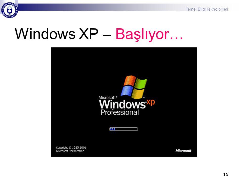 Temel Bilgi Teknolojileri 15 Windows XP – Başlıyor…