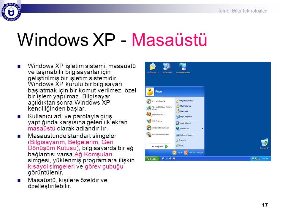 Temel Bilgi Teknolojileri 17 Windows XP - Masaüstü  Windows XP işletim sistemi, masaüstü ve taşınabilir bilgisayarlar için geliştirilmiş bir işletim