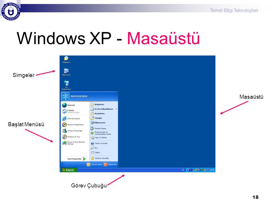 Temel Bilgi Teknolojileri 18 Windows XP - Masaüstü Simgeler Başlat Menüsü Görev Çubuğu Masaüstü