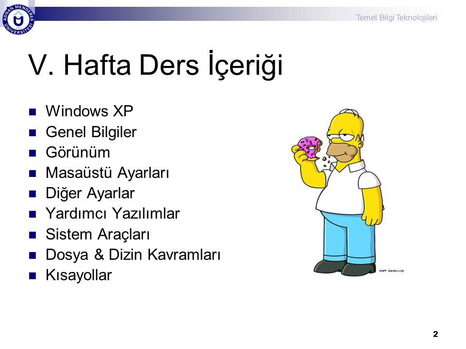 Temel Bilgi Teknolojileri 2 V. Hafta Ders İçeriği  Windows XP  Genel Bilgiler  Görünüm  Masaüstü Ayarları  Diğer Ayarlar  Yardımcı Yazılımlar 