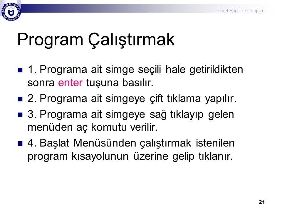 Temel Bilgi Teknolojileri 21 Program Çalıştırmak  1. Programa ait simge seçili hale getirildikten sonra enter tuşuna basılır.  2. Programa ait simge