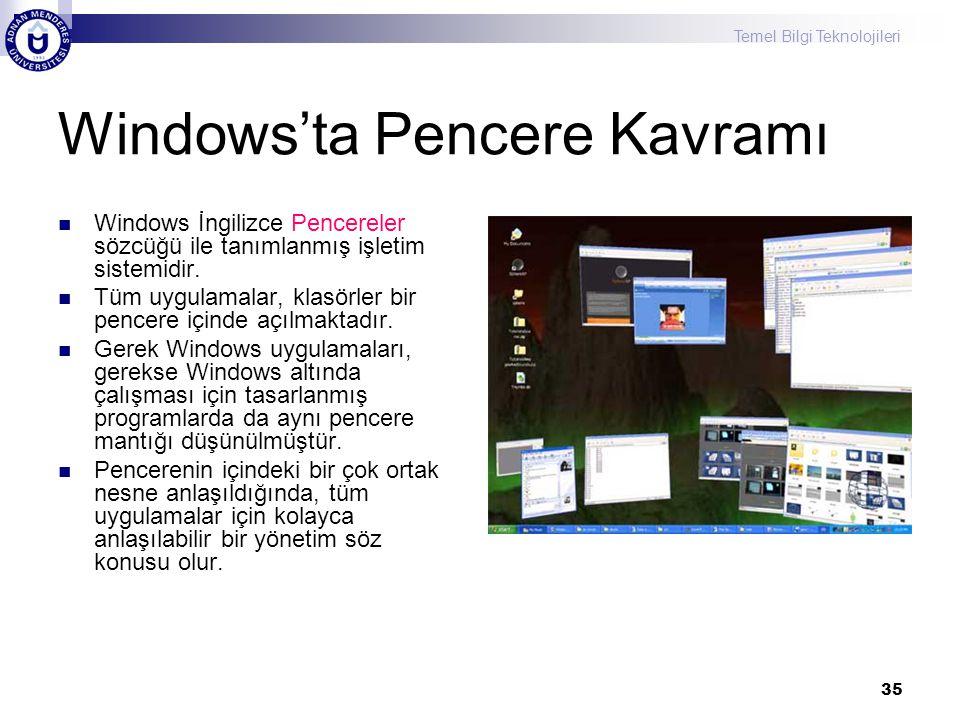 Temel Bilgi Teknolojileri 35 Windows'ta Pencere Kavramı  Windows İngilizce Pencereler sözcüğü ile tanımlanmış işletim sistemidir.  Tüm uygulamalar,