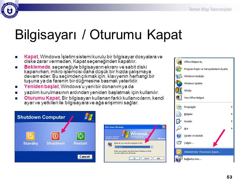 Temel Bilgi Teknolojileri 53 Bilgisayarı / Oturumu Kapat  Kapat, Windows İşletim sistemi kurulu bir bilgisayar dosyalara ve diske zarar vermeden, Kap