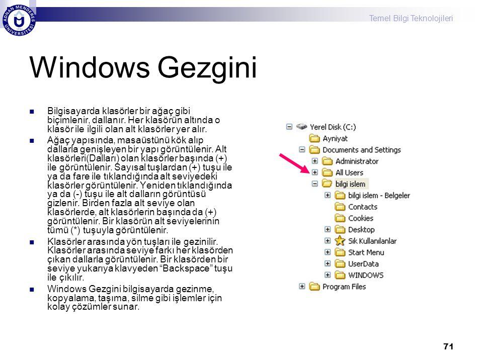 Temel Bilgi Teknolojileri 71 Windows Gezgini  Bilgisayarda klasörler bir ağaç gibi biçimlenir, dallanır. Her klasörün altında o klasör ile ilgili ola