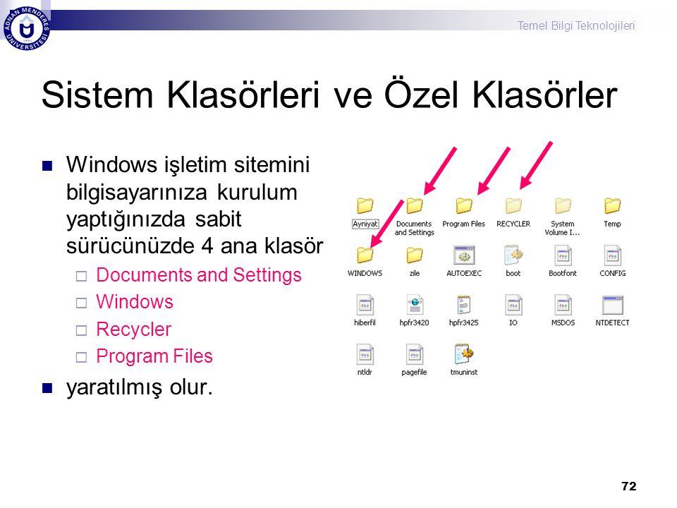 Temel Bilgi Teknolojileri 72 Sistem Klasörleri ve Özel Klasörler  Windows işletim sitemini bilgisayarınıza kurulum yaptığınızda sabit sürücünüzde 4 a