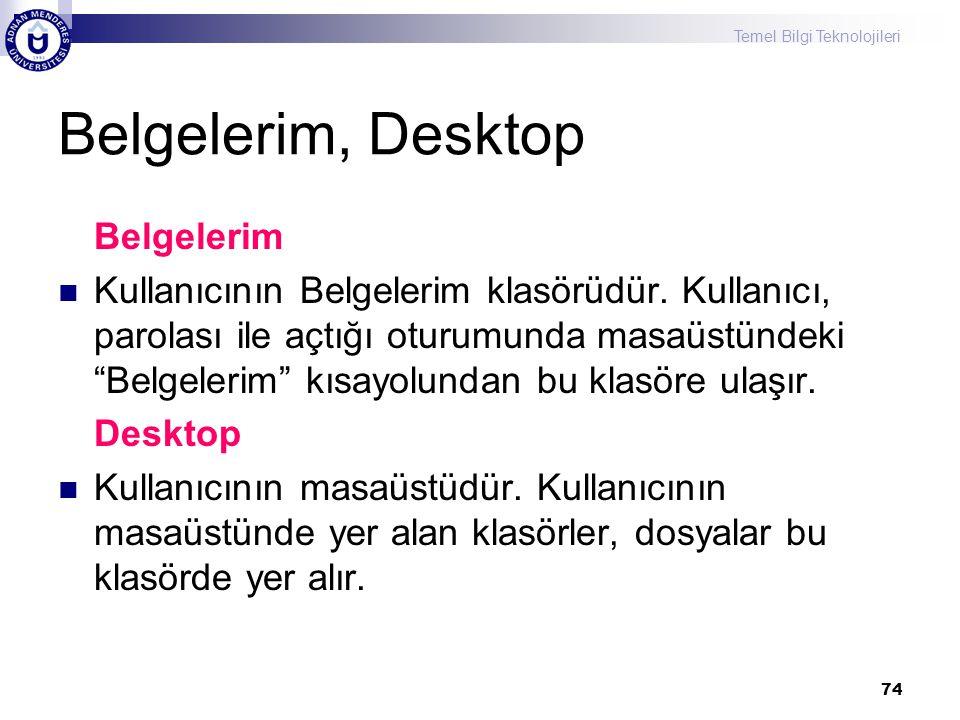 Temel Bilgi Teknolojileri 74 Belgelerim, Desktop Belgelerim  Kullanıcının Belgelerim klasörüdür. Kullanıcı, parolası ile açtığı oturumunda masaüstünd