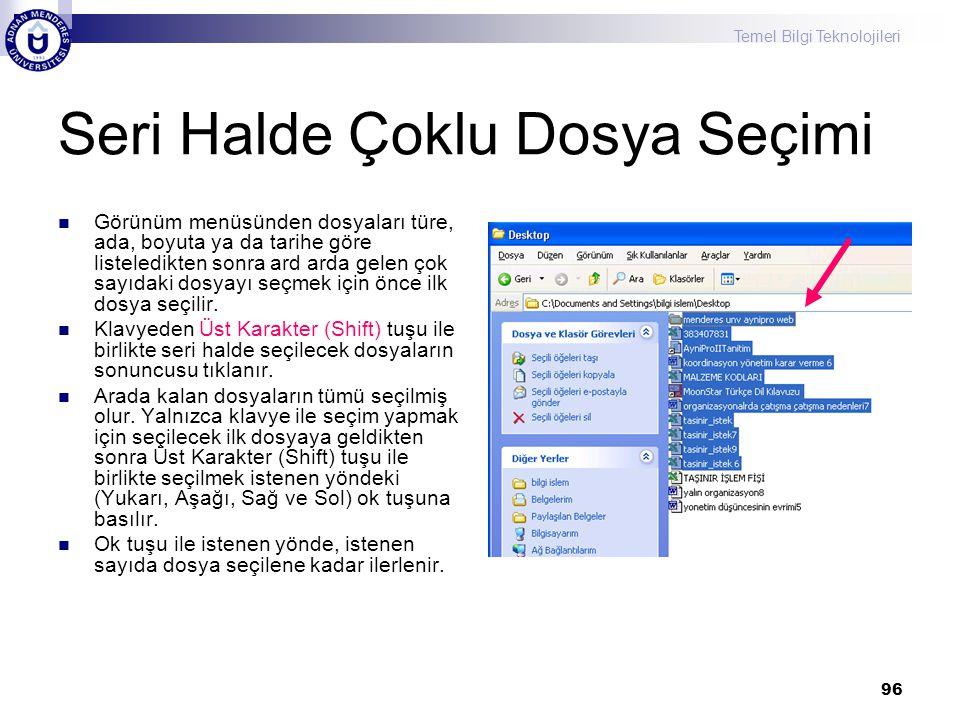 Temel Bilgi Teknolojileri 96 Seri Halde Çoklu Dosya Seçimi  Görünüm menüsünden dosyaları türe, ada, boyuta ya da tarihe göre listeledikten sonra ard