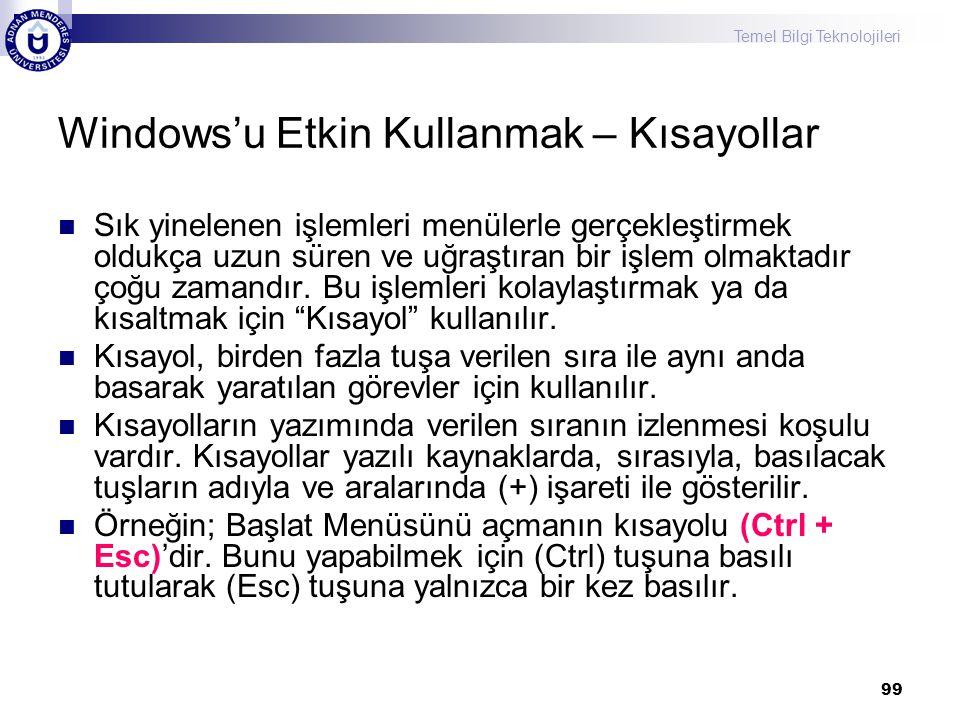 Temel Bilgi Teknolojileri 99 Windows'u Etkin Kullanmak – Kısayollar  Sık yinelenen işlemleri menülerle gerçekleştirmek oldukça uzun süren ve uğraştır
