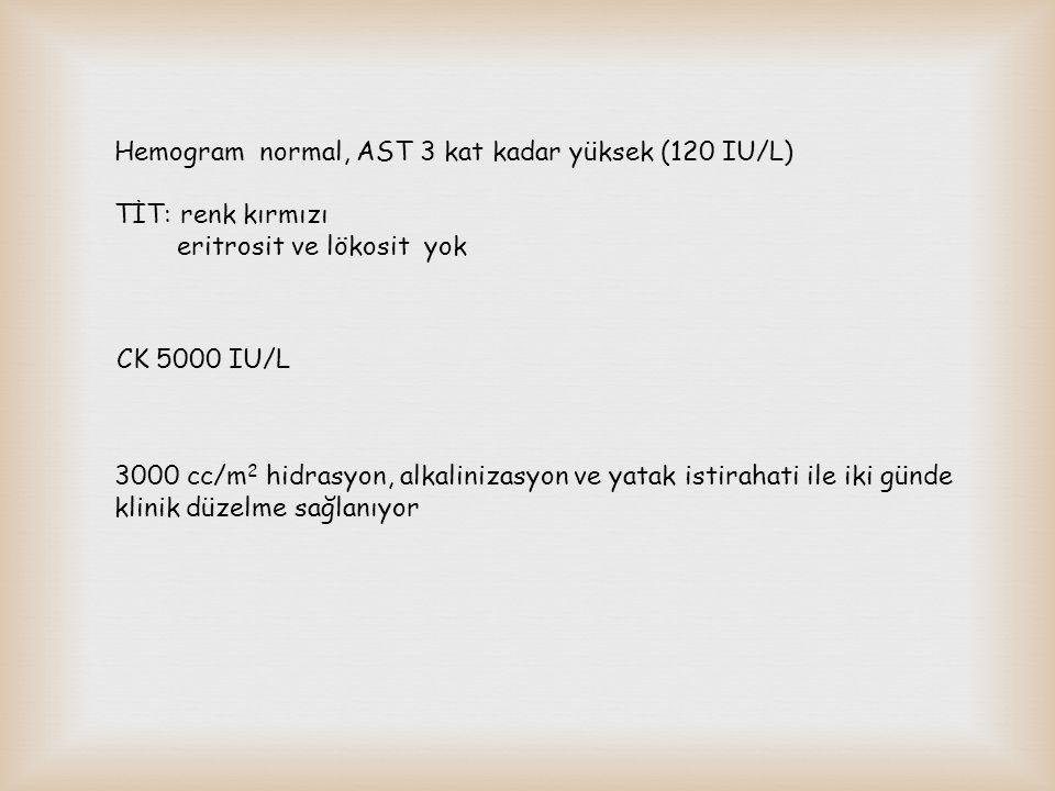 Hemogram normal, AST 3 kat kadar yüksek (120 IU/L) TİT: renk kırmızı eritrosit ve lökosit yok CK 5000 IU/L 3000 cc/m 2 hidrasyon, alkalinizasyon ve ya