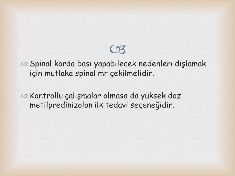  Spinal korda bası yapabilecek nedenleri dışlamak için mutlaka spinal mr çekilmelidir.  Kontrollü çalışmalar olmasa da yüksek doz metilpredinizolo