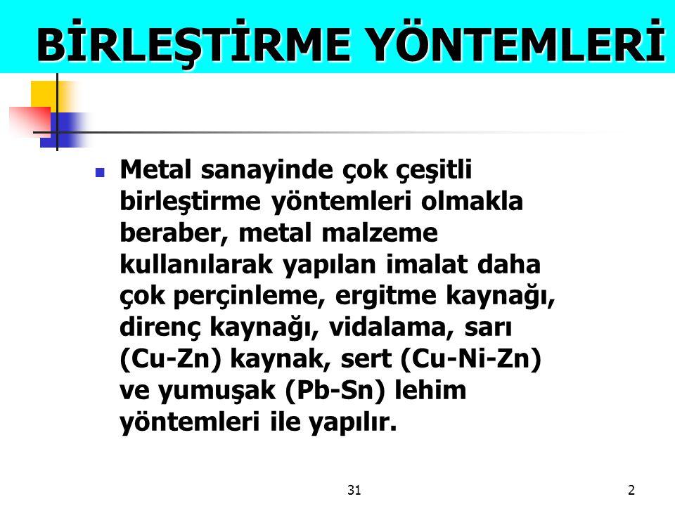 312 BİRLEŞTİRME YÖNTEMLERİ BİRLEŞTİRME YÖNTEMLERİ  Metal sanayinde çok çeşitli birleştirme yöntemleri olmakla beraber, metal malzeme kullanılarak yap