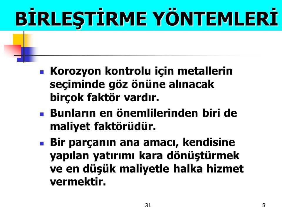 318 BİRLEŞTİRME YÖNTEMLERİ BİRLEŞTİRME YÖNTEMLERİ  Korozyon kontrolu için metallerin seçiminde göz önüne alınacak birçok faktör vardır.  Bunların en